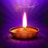 beautiful glowing vector diwali diya background poster