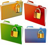 set of folders with golden hinged locks stores confidential documents poster