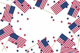 Small American Flags On Sticks And Star Confetti On An Isolated White Background With Copy Space. Us