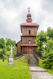 Varadka,slovakia - June 10,2020 - View At The Wooden Church Of Protection Of The Blessed Virgin In V