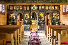 Bardejov,slovakia - June 10,2020 - View At The Interior Of Wooden Church Of Protection Of The Blesse