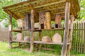 Bardejov,slovakia - June 10,2020 - View At The Bee Hives In Open Air Museum Of Bardejovske Kupele. B