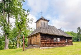 View At The Wooden Church Of St.paraskeva In Vysna Polianka - Slovakia