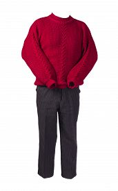 Womens Black Pants Striped And Knitted Red Sweater Isolated On A White Background. Comfortable Casua
