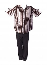 Women`s Black Trousers With Brown Beige Striped Blouse Isolated On White Background .fashion Clothes
