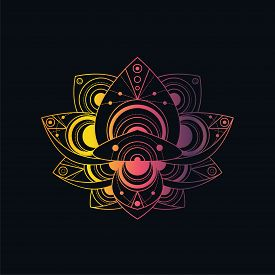 Lotus Flower With Geometric Pattern Vector Linear Illustration