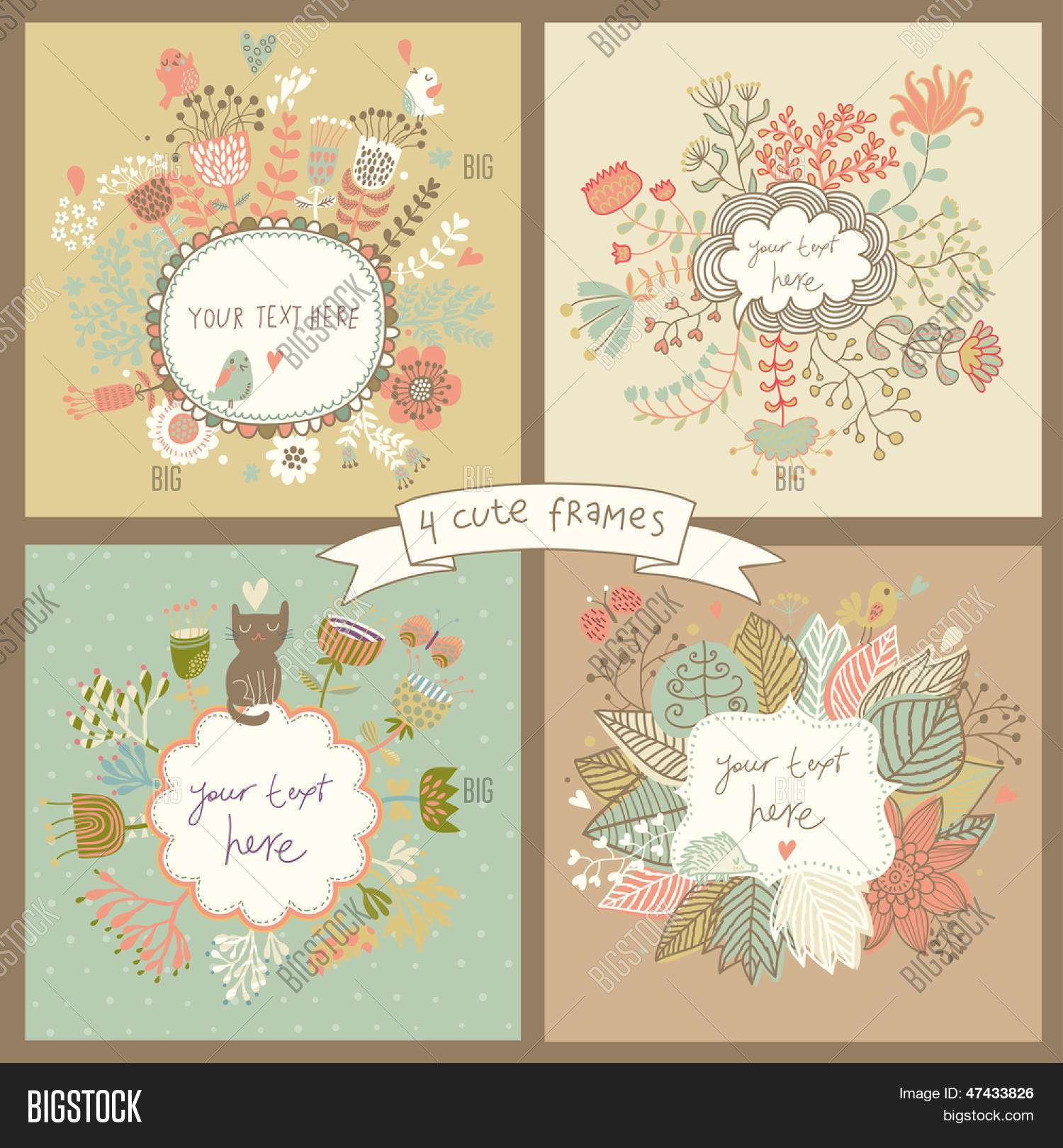 Cute Set Four Floral Vector Photo Free Trial Bigstock