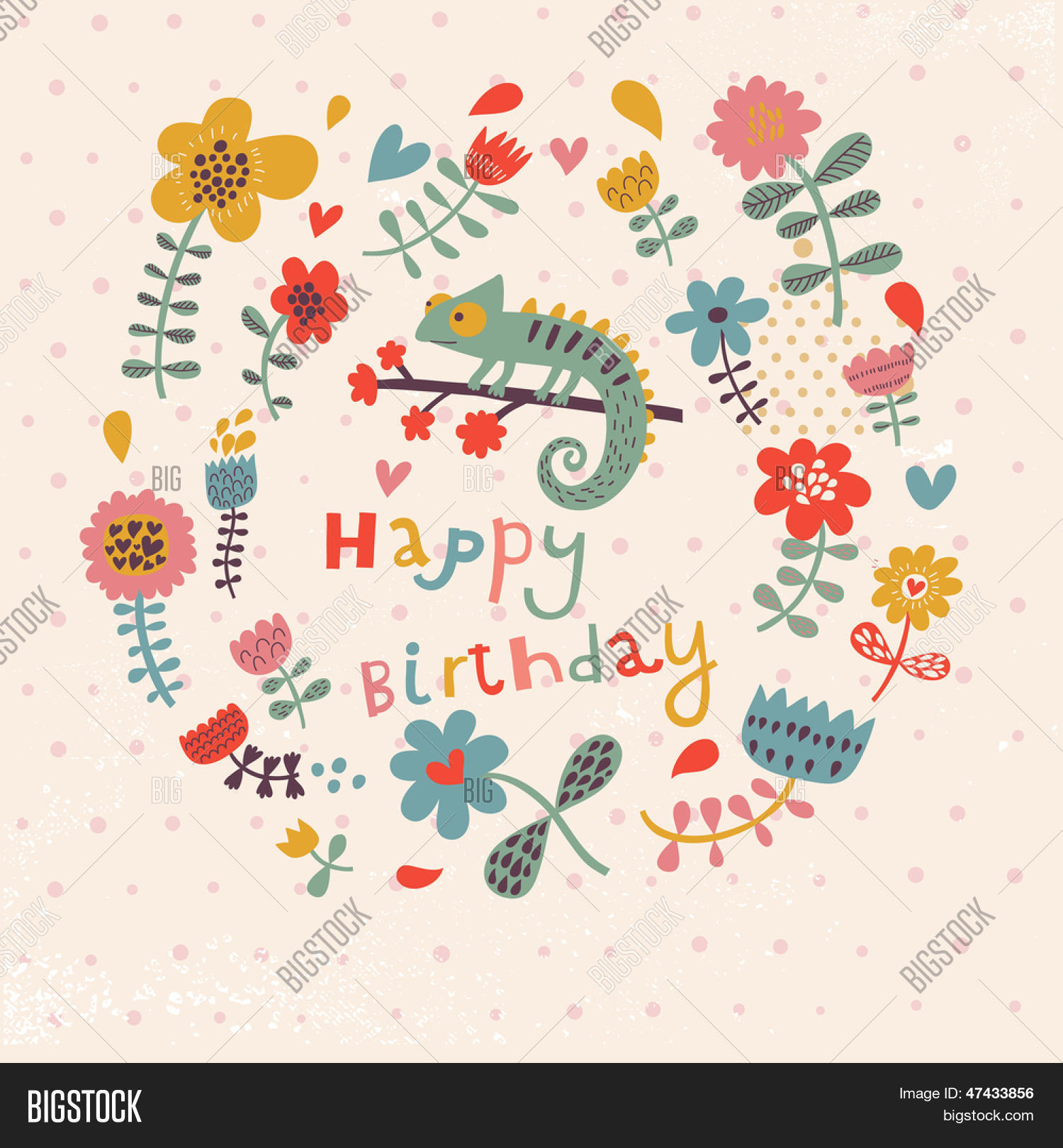 Cute floral birthday vector photo free trial bigstock cute floral birthday card with amazing chameleon in flowers vintage vector card party invitation design stopboris Images