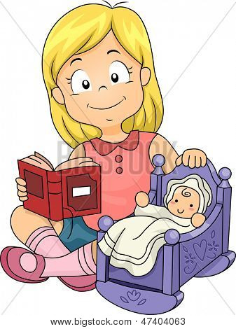 Illustration of Little Kid Girl Playing with Baby Doll while Reading a Book