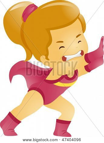 Illustration of Little Kid Girl Exerting Energy on Pushing Something