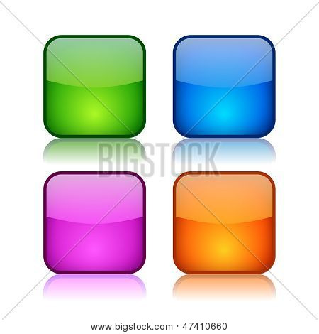 Glass square navigation buttons