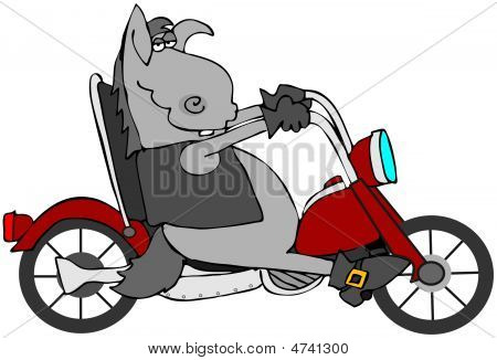 This illustration depicts a donkey wearing a vest and riding a motorcycle. poster