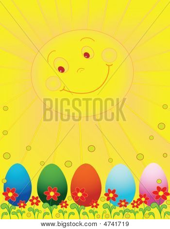Sun And Easter Eggs