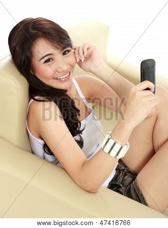 Young Beauty Girl With Handphone