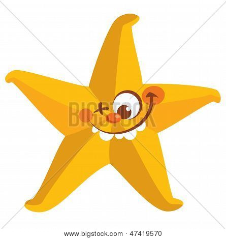 Happy crazy yellow face starfish tooth smiling with one eye closed poster