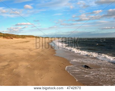 Empty Cape Cod Beach And Blue Sky