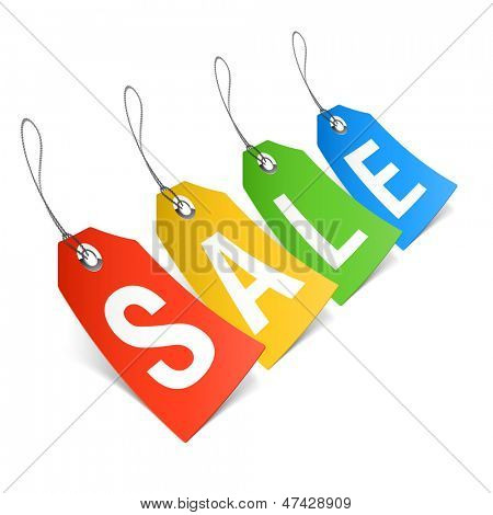 Sale, price tags. Vector.