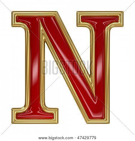 Ruby red with golden outline alphabet letter symbol - N
