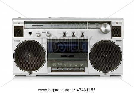 Portable vintage radio cassette recorder isolated on white poster