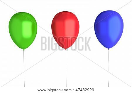 3 Balloons (Green, Red, Blue)