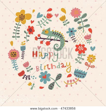 Cute floral birthday card with amazing chameleon in flowers. Vintage vector card party invitation design.