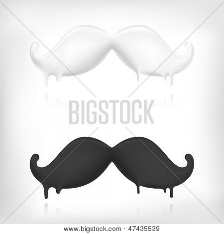 Milk mustache and dark chocolate mustache creative concept.