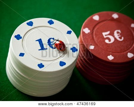 Ladybugs With Poker Chips