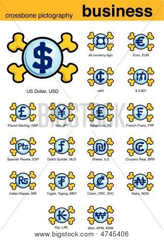 Business crossbones pictograph – a set of vector icons. poster