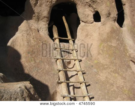 Ladder Leading Up To Ancient Pueblo Cave Dwelling