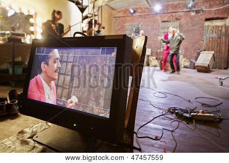 Videomonitor at movie set of musical video clip