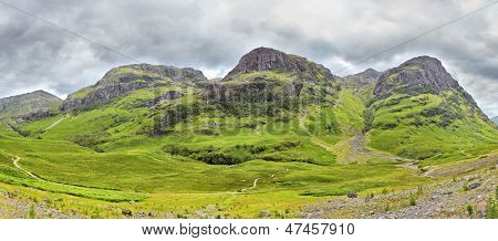 panoramic view of the Three Sisters of Glencoe, Scotland poster