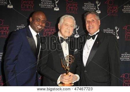 BEVERLY HILLS - JUN 16: Wayne Brady, Monty Hall, Malachy Wienges with The Lifetime Achievement Award at the 40th Annual Daytime Emmy Awards on June 16, 2013 in Beverly Hills, California