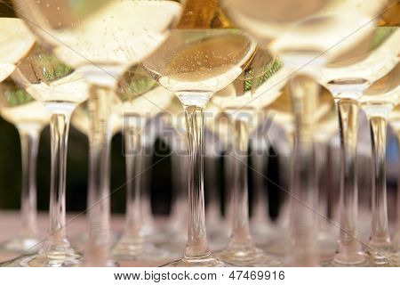 Glasses With Wine On Table