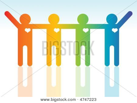 Happiness Multi Ethnic People Silhouettes, Illustration