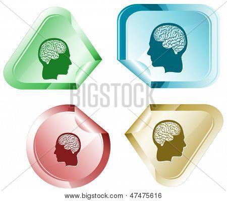 Human brain. Vector sticker.
