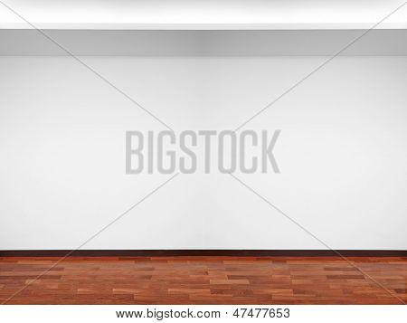 Leere weiße Wand mit Licht und Holz Boden