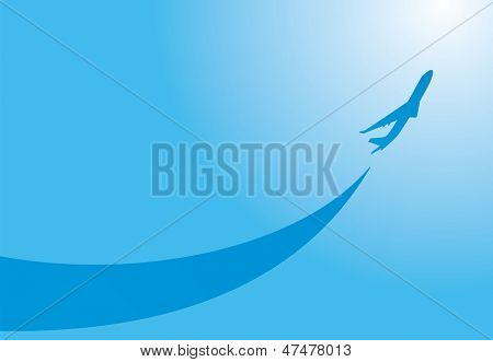 vector image silhouette of jet airplane take-off