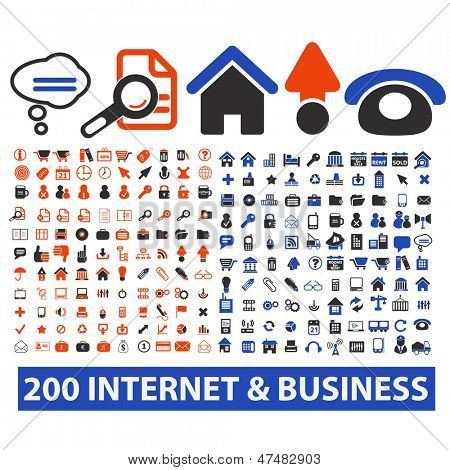200 internet, business, media icons, signs set, vector