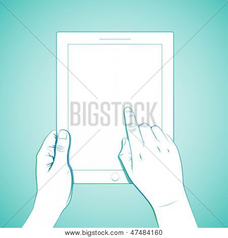 Hand touch tablet gesture.