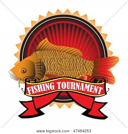 Abstract colorful background with a huge carp and a red banner on which is written fishing tournament. Fishing theme poster