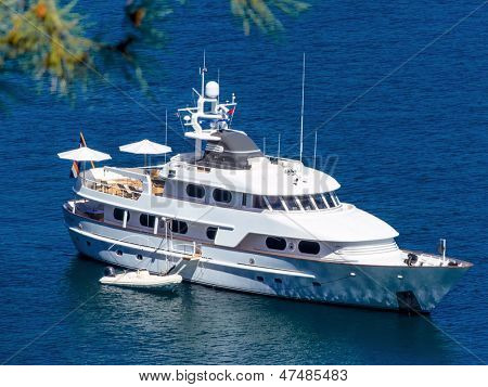 motor yacht on the sea, symbolic photo for luxury, leisure, vacation