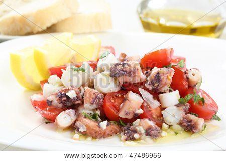 healthy octopus salad- traditional dish from Portugal-Santa Luzia, Algarve