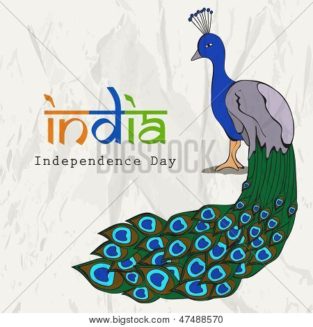 Indian independence Day background national bird peacock and text India in national flag tricolors.