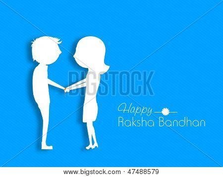 White silhouette of sister tying Rakhi on her brother's wrist on the occasion of Indian festival Rakshabandhan.