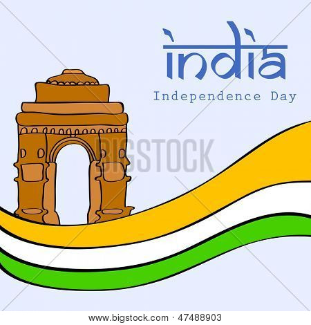 Indian Independence Day background with illustration of India Gate on national flag tricolors wave.