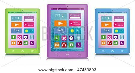 Satz von Farbe Tablet PCs