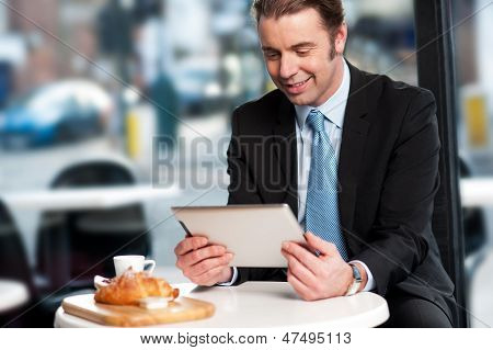 Business Executive At Open Restaurant