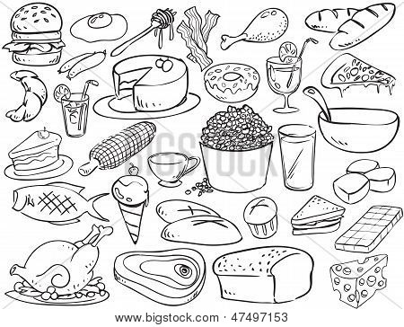 Foods And Beverages Doodle Style