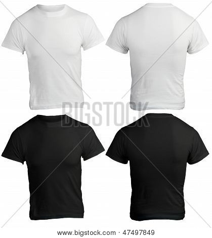 Male Shirt Template, Black And White, Front And Back
