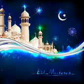 illustration of Eid Mubarak (Happy Eid) background with mosque poster